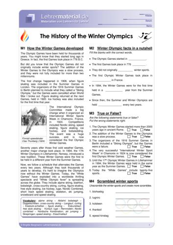 Vorschaugrafik 1 für das  Arbeitsblatt The History of the Winter Olympics von Lehrermaterial.de.
