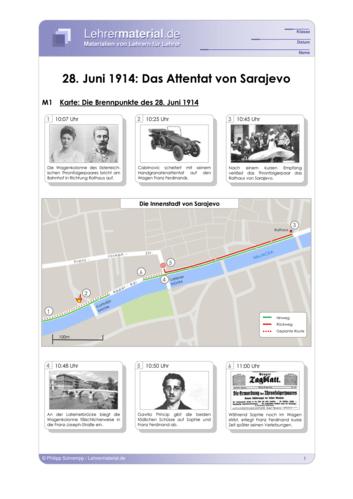 Vorschaugrafik 1 für das  Arbeitsblatt 28. Juni 1914: Das Attentat von Sarajevo von Lehrermaterial.de.