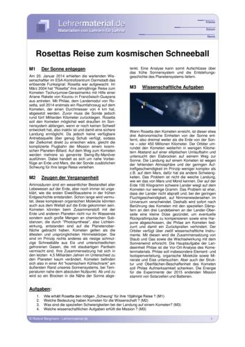 Vorschaugrafik für das  Arbeitsblatt Rosettas Reise zum kosmischen Schneeball von Lehrermaterial.de
