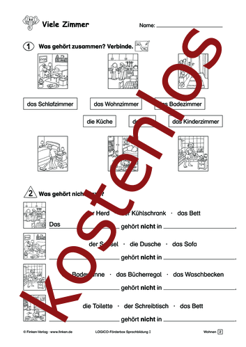 Vorschaugrafik 1 für das kostenlose Arbeitsblatt LOGICO-Box: Viele Zimmer von Lehrermaterial.de.