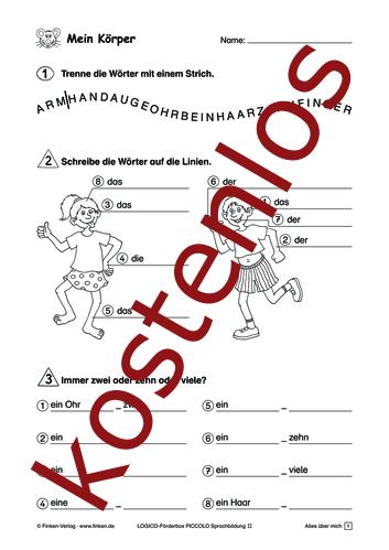 Vorschaugrafik 1 für das kostenlose Arbeitsblatt LOGICO-Box: Mein Körper von Lehrermaterial.de.
