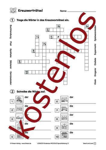 Kostenloses Kreuzworträtsel