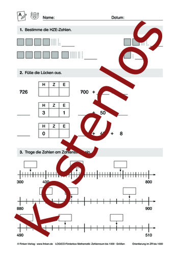 Detailseite für das kostenlose Arbeitsblatt LOGICO-Box: Zahlenraum bis 1000 (I) öffnen