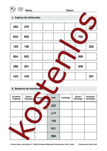 Vorschaugrafik 1 für das kostenlose Arbeitsblatt LOGICO-Box: Zahlenraum bis 1000 (II) von Lehrermaterial.de.