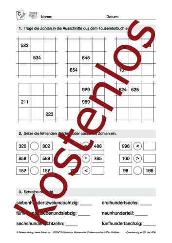 Vorschaugrafik 1 für das kostenlose Arbeitsblatt LOGICO-Box: Zahlenraum bis 1000 (III) von Lehrermaterial.de.