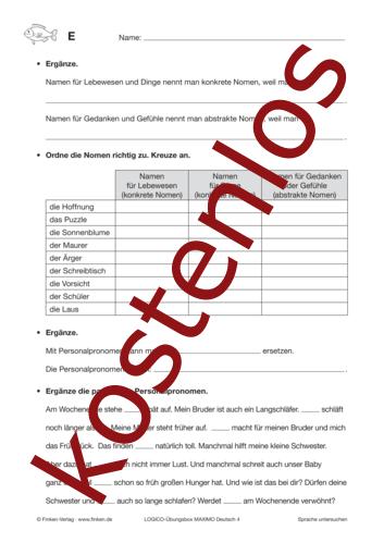 Vorschaugrafik 1 für das kostenlose Arbeitsblatt LOGICO-Box: Personalpronomen von Lehrermaterial.de.