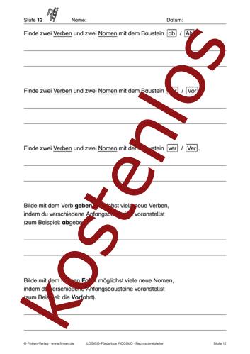 Vorschaugrafik 1 für das kostenlose Arbeitsblatt LOGICO-Box: Anfangsbausteine erkennen von Lehrermaterial.de.