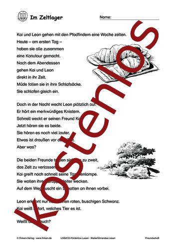 Vorschaugrafik 1 für das kostenlose Arbeitsblatt LOGICO-Box: Im Zeltlager von Lehrermaterial.de.