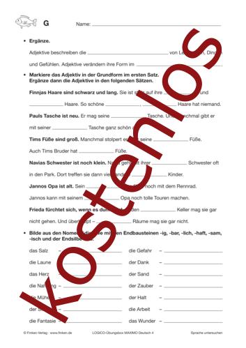 Vorschaugrafik 1 für das kostenlose Arbeitsblatt LOGICO-Box: Adjektive und ihre Formen von Lehrermaterial.de.