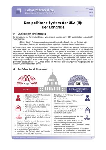 Detailseite für das  Arbeitsblatt Das politische System der USA (II): Der Kongress öffnen