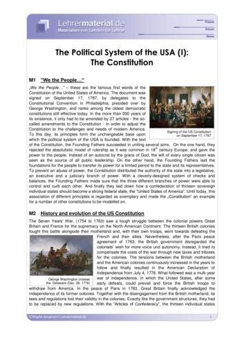 Vorschaugrafik für das  Arbeitsblatt The Political System of the USA (I): The Constitution von Lehrermaterial.de