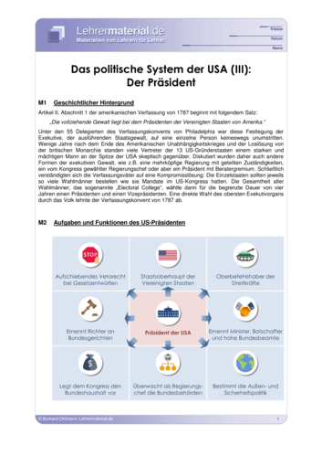 Vorschaugrafik 1 für das  Arbeitsblatt Das politische System der USA (III): Der Präsident von Lehrermaterial.de.