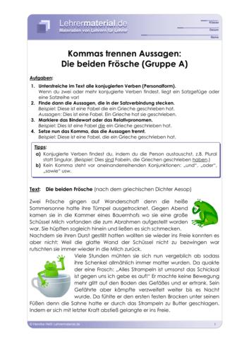 Vorschaugrafik 1 für das  Arbeitsblatt Kommas trennen Aussagen: Fabeln von Lehrermaterial.de.