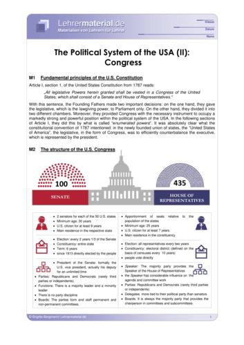 Vorschaugrafik 1 für das  Arbeitsblatt The Political System of the USA (II): Congress von Lehrermaterial.de.