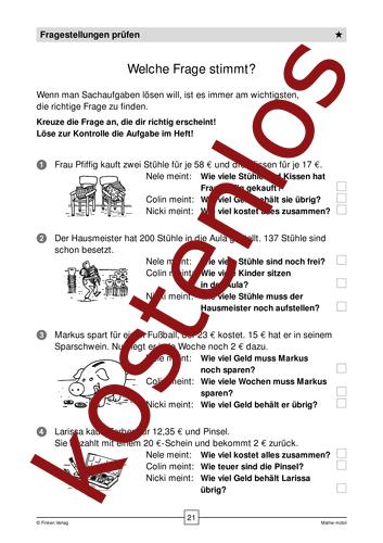 Vorschaugrafik für das kostenlose Arbeitsblatt Welche Frage stimmt? von Lehrermaterial.de