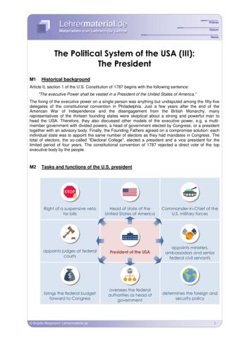 Vorschaugrafik 1 für das  Arbeitsblatt The Political System of the USA (III): The President von Lehrermaterial.de.