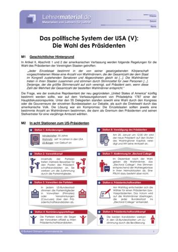 Vorschaugrafik 1 für das  Arbeitsblatt Das politische System der USA (V): Die Wahl des Präsidenten von Lehrermaterial.de.