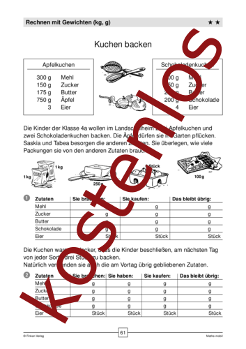 Vorschaugrafik 1 für das kostenlose Arbeitsblatt Kuchen backen - Rechnen mit Gewichten von Lehrermaterial.de.