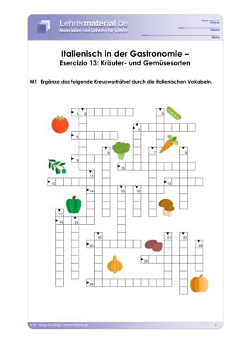 Vorschaugrafik 1 für das  Arbeitsblatt Italienisch in der Gastronomie – Esercizio 13: Kräuter- und Gemüsesorten von Lehrermaterial.de.