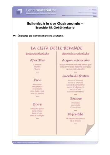Vorschaugrafik 1 für das  Arbeitsblatt Italienisch in der Gastronomie – Esercizio 15: Getränkekarte von Lehrermaterial.de.