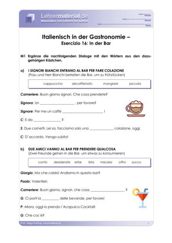 Vorschaugrafik 1 für das  Arbeitsblatt Italienisch in der Gastronomie – Esercizio 16: In der Bar von Lehrermaterial.de.