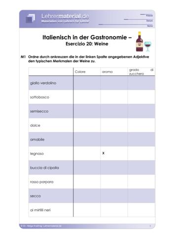 Vorschaugrafik 1 für das  Arbeitsblatt Italienisch in der Gastronomie – Esercizio 20: Weine von Lehrermaterial.de.