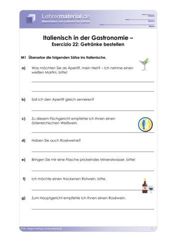 Vorschaugrafik 1 für das  Arbeitsblatt Italienisch in der Gastronomie – Esercizio 22: Getränke bestellen von Lehrermaterial.de.