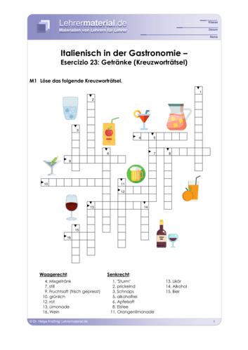 Vorschaugrafik 1 für das  Arbeitsblatt Italienisch in der Gastronomie – Esercizio 23: Getränke (Kreuzworträtsel) von Lehrermaterial.de.