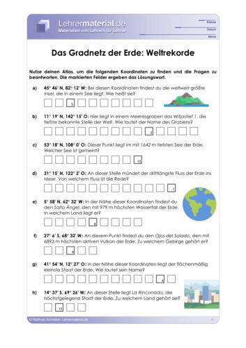 Vorschaugrafik 1 für das  Arbeitsblatt Das Gradnetz der Erde: Weltrekorde von Lehrermaterial.de.