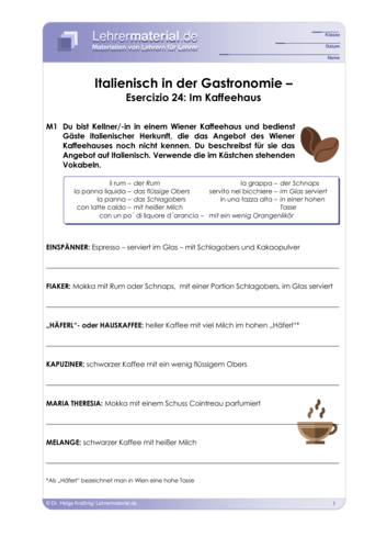 Vorschaugrafik 1 für das  Arbeitsblatt Italienisch in der Gastronomie – Esercizio 24: Im Kaffeehaus von Lehrermaterial.de.