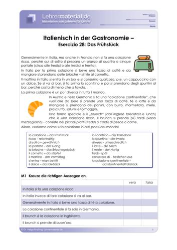 Vorschaugrafik 1 für das  Arbeitsblatt Italienisch in der Gastronomie – Esercizio 28: Das Frühstück von Lehrermaterial.de.