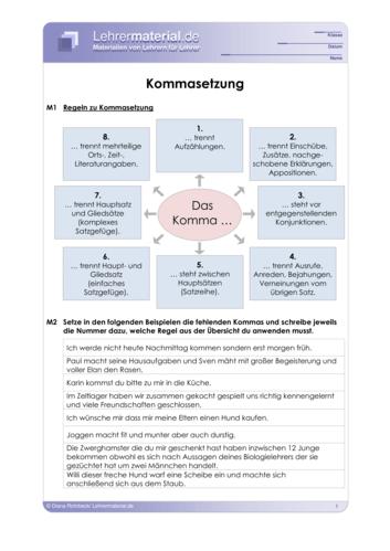 Vorschaugrafik für das  Arbeitsblatt Kommasetzung von Lehrermaterial.de