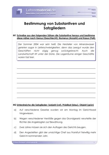 Vorschaugrafik für das  Arbeitsblatt Bestimmung von Substantiven und Satzgliedern von Lehrermaterial.de