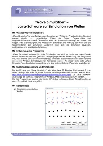 Vorschaugrafik 1 für das  Arbeitsblatt Wave Simulation – Java-Software zur Simulation von Wellen von Lehrermaterial.de.