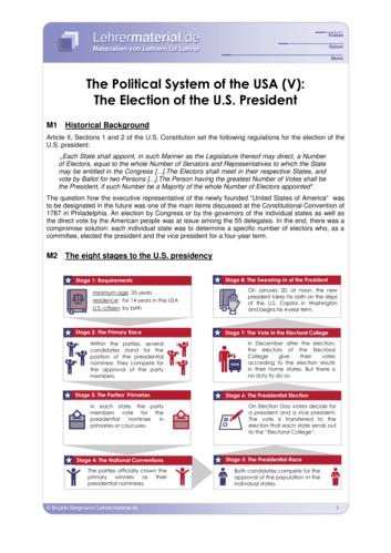Vorschaugrafik 1 für das  Arbeitsblatt The Political System of the USA (V): The Election of the U.S. President von Lehrermaterial.de.