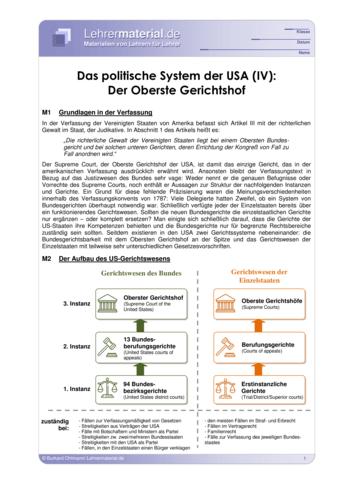 Vorschaugrafik 1 für das  Arbeitsblatt Das politische System der USA (IV): Der Oberste Gerichtshof von Lehrermaterial.de.