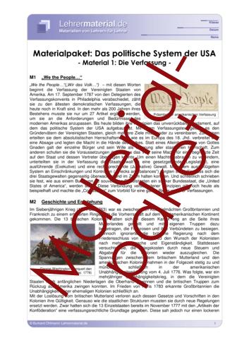 Vorschaugrafik 1 für das  Arbeitsblatt Materialpaket: Das politische System der USA von Lehrermaterial.de.