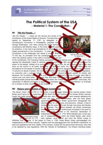 Detailseite für das  Arbeitsblatt The Political System of the USA (Package) öffnen