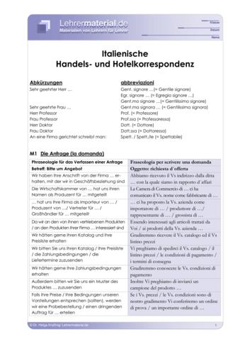 Vorschaugrafik 1 für das  Arbeitsblatt Italienische Handels- und Hotelkorrespondenz von Lehrermaterial.de.