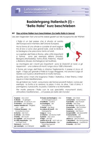Vorschaugrafik 1 für das  Arbeitsblatt Basislehrgang Italienisch (I) – `Bella Italia´ kurz beschrieben von Lehrermaterial.de.