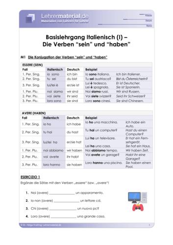 Vorschaugrafik 1 für das  Arbeitsblatt Basislehrgang Italienisch (I) – Die Verben `sein und `haben´ von Lehrermaterial.de.