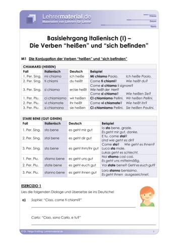 Vorschaugrafik 1 für das  Arbeitsblatt Basislehrgang Italienisch (I) – Die Verben `heißen´ und 'sich befinden' von Lehrermaterial.de.