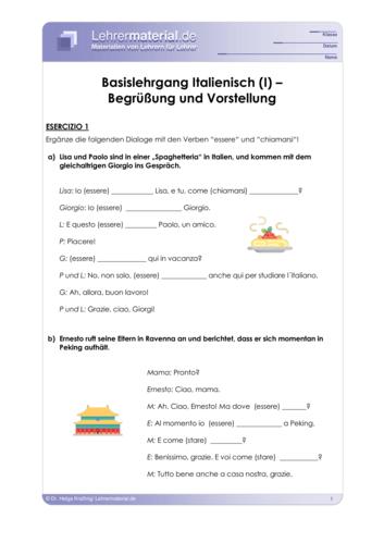 Vorschaugrafik 1 für das  Arbeitsblatt Basislehrgang Italienisch (I) – Begrüßung und Vorstellung von Lehrermaterial.de.