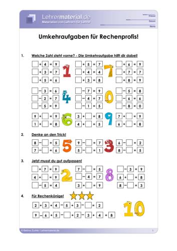 Vorschaugrafik für das  Arbeitsblatt Umkehraufgaben für Rechenprofis von Lehrermaterial.de