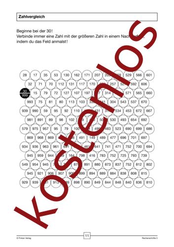 Vorschaugrafik 1 für das kostenlose Arbeitsblatt Zahlvergleich von Lehrermaterial.de.