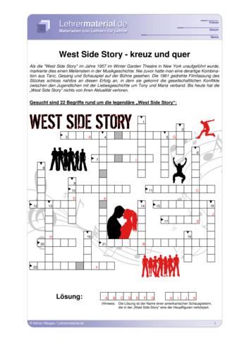Detailseite für das  Arbeitsblatt West Side Story - kreuz und quer öffnen