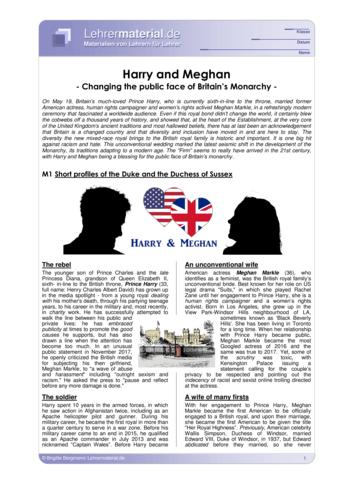 Vorschaugrafik 1 für das  Arbeitsblatt Harry and Meghan - Changing the public face of Britain's Monarchy von Lehrermaterial.de.