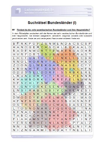 Vorschaugrafik für das  Arbeitsblatt Suchrätsel Bundesländer (I) von Lehrermaterial.de