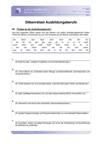 Vorschaugrafik für das  Arbeitsblatt Silbenrätsel Ausbildungsberufe von Lehrermaterial.de