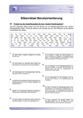 Vorschaugrafik 1 für das  Arbeitsblatt Silbenrätsel Berufsorientierung von Lehrermaterial.de.